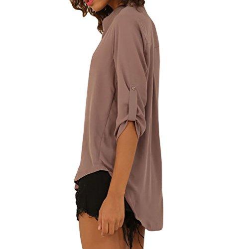 Eliacher Freizeithemd Damen Tops Plus -Size-Bluse-Bekleidung 6646 grau