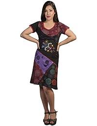 Damen Kurzarm-Kleid mit bunten Flecken & Stickerei