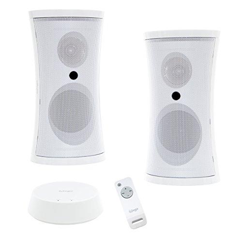 Exklusives Funk-Lautsprecher Set mit Fernbedienung und sattem Stereo Sound (2x5W Sinus/100W PMPO/Plug&Play/IPX3/100m Reichweite) für drinnen & draußen / Kabellos & Outdoor