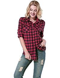 Yidarton Chemise Carreaux Femme Manche Longue Cotton Décontractée Blouse Shirt