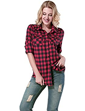 Yidarton Mujer Camisas a Cuadros Blusa De Moda De Manga Larga Casual Camisetas