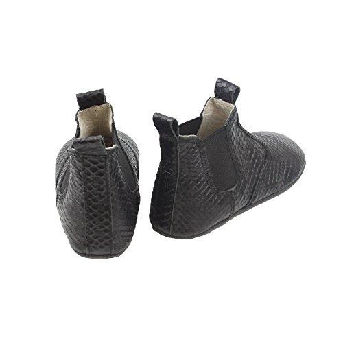 Enfant bébé fille chaussons boots, cuir, 815121 Noir