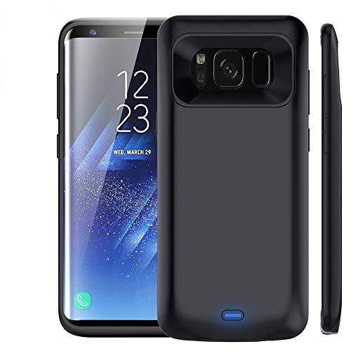 NOVPEAK, custodia con batteria compatibile con Samsung S8 Plus, custodia per ricarica portatile da 5500 mAh sottile e ricaricabile, alimentazione di riserva (nero)