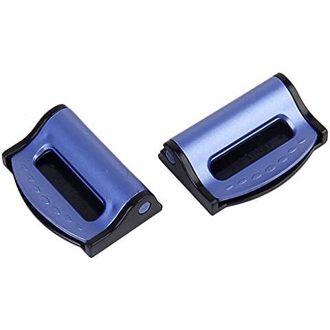 2 X Soporte De La Hebilla Del Cinturón Del Asiento De Seguridad Para Automóvil Clip De Cinturón De Seguridad Del Ajustador Azul