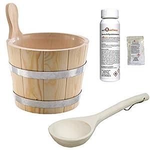 SudoreWell® Saunaeimer Saunakübel Nadelholz 5,0 l inkl. Einsatz + Schöpfkelle Plus gratis Mentholkristalle + Saunaaufguss