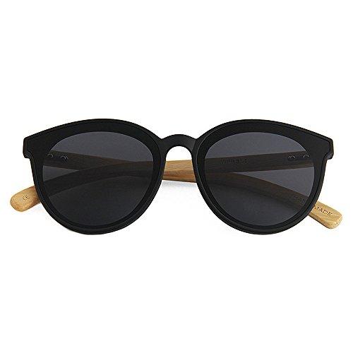 Goodvk Einfache Brille Einfache Katze Augen Stil Bambus Bein Unisex Sonnenbrille Farbige Linse UV-Schutz Handgemacht Für Männer Frauen (Farbe : Schwarz)