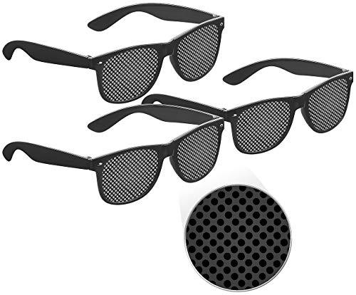 PEARL Raster-Brille: 3er-Set Lochbrillen zur Augen-Gymnastik und -Entspannung, schwarz (Augentrainer-Brille)