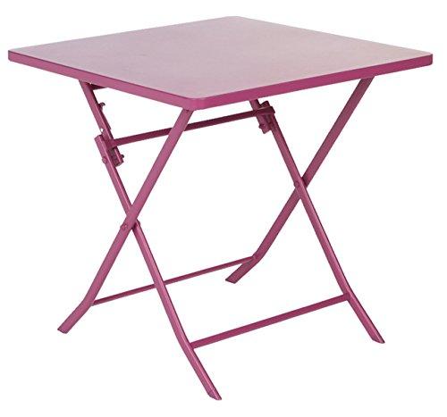 PEGANE Soldes Table de terrasse Carrée Chloé Prune en Acier, 70 x 70 x 71 cm