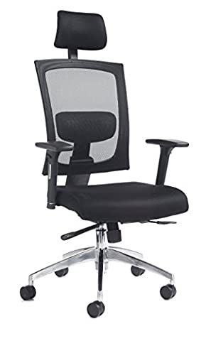 DAMS 300 Series Gemini Chair with Adjustable Arms And Headrest, Leather, Black