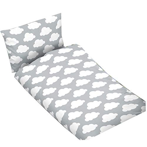 Casa Colori Kinder Baumwoll Bettwäsche 2 teilig Bettbezug 100 x 135 cm Kopfkissenbezug 40 x 60 cm Grau mit weißen Wolken