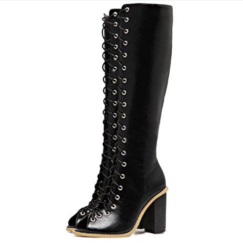 YCMDM Femmes Rétro Courroies creuses Poissons Bouche Rough Avec Talons Chaussures Sandales Bottes Simple Chaussures Black