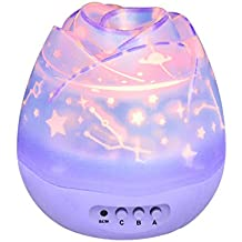 Sunvito Lámpara de Iluminación de Noche,360 Grados Giratoria Cosmos Romántica Luna Cielo Estrellas Proyector para Niños Baby Lover,4 Granos de LED Brillante,4 Rebanadas de Proyección,DC5V/Batería (Púrpura)