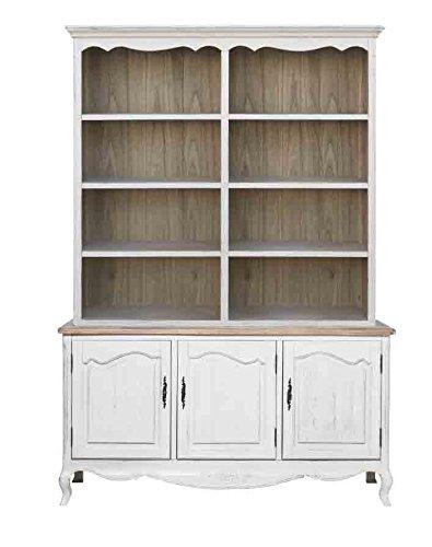 Credenza bianca a tre ante con alzata con rifiniture color legno vintage L'ARTE DI NACCHI YY-11