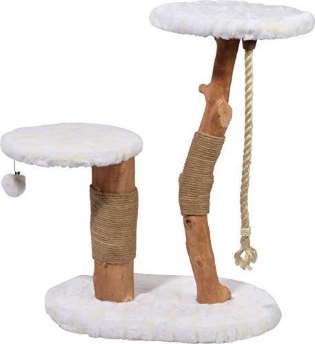 dobar 35283fsce Design-Kratzbaum Holly Mit Naturstämmen Und Spielball, Katzenmöbel Mit Zwei Liegeflächen, 60 X 40 X 86 cm, weiß