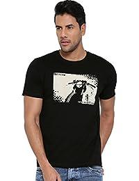 Cult Fiction Black Color Round Neck Comfort Fit Cotton T-shirt For Men's