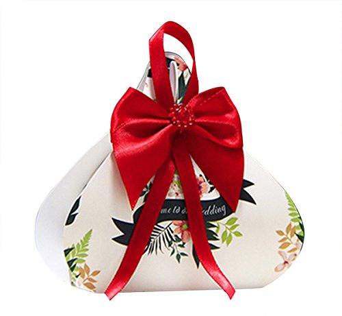 AUTULET Einzigartige Trendy Hochzeit Süßigkeiten Zu Weihnachtsgeschenk Taschen Flachgehäuse Geschenk-Box mit Roten Band 20 Stück (Bonbons Oder Pralinen Nicht Enthalten)