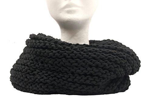 Scaldacollo in maglia, sciarpa ad anello intrecciato col. nero