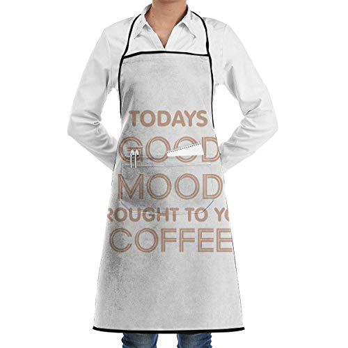 QIAOJI Unisex verstellbare Kochschürze mit Tasche Heute Gute Laune Wird Ihnen von Coffee Bib Schürze Küchenschürze verstellbare extra Lange Bänder zum Grillen Backen und Kochen, schwarz - Schürze Tankini