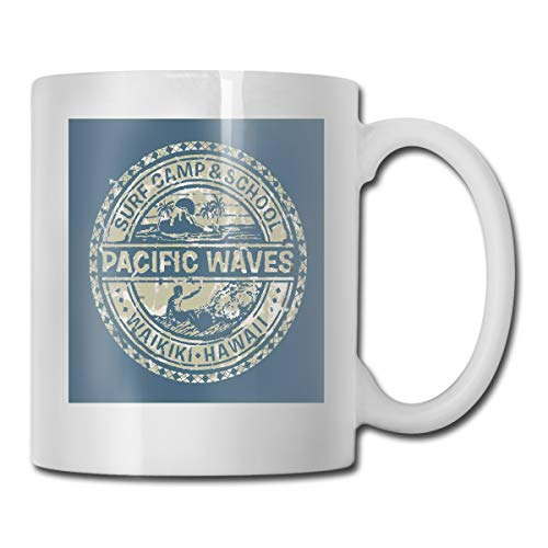 Jolly2T Funny Ceramic Novelty Coffee Mug 11oz,Pacific Waves Surf Camp School Hawaii Logo Motif Artsy Effects Design,Unisex Who Tea Mugs Coffee Cups,Suitable for Office and Home - Pod Pacific