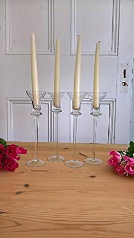 Fait à la main en verre à pied Chandeliers de 25cm de haut | romantique | pilier Bougeoir votive Lot de 4avec bougies