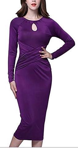 SunIfSnow - Pull sans manche - Moulante - Uni - Manches Longues - Femme violet violet L