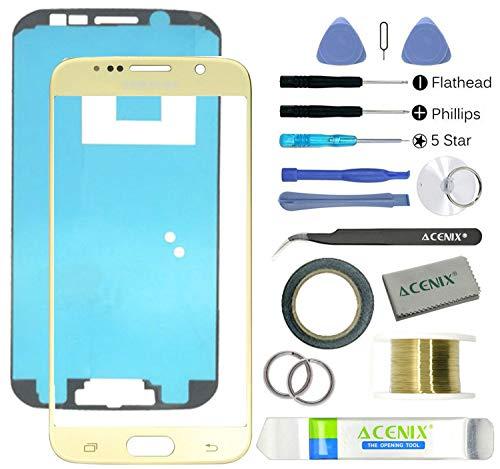 ACENIX Universal Reparaturset Samsung Galaxy S6Gold Ersatz Bildschirm Front Glas Objektiv Reparatur Kit mit 17Stücke Ersatz Kits