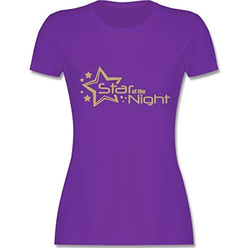 JGA Junggesellinnenabschied - Star of the Night - tailliertes Premium T-Shirt mit Rundhalsausschnitt für Damen Lila
