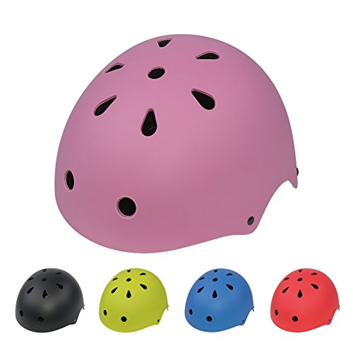 LIDAUTO Fahrrad-Schutzhelm für Eislaufen Bike Kind Helm frei Größe Einstellbar,pink,M