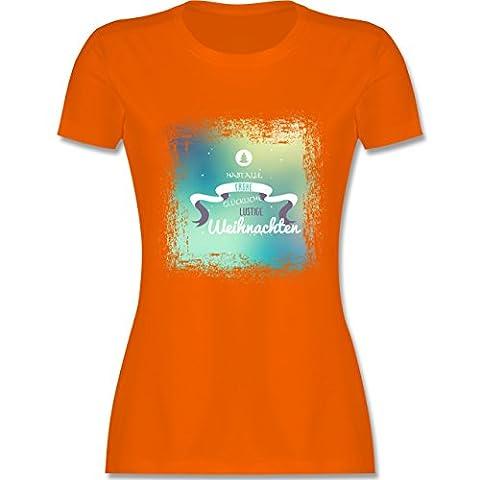 Weihnachten & Silvester - Frohe Weihnachten Bunt Vintage - S - Orange - L191 - tailliertes Premium T-Shirt mit Rundhalsausschnitt für