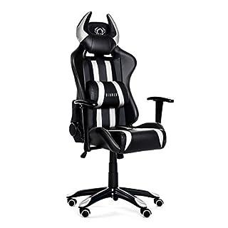 Diablo X-One Horn Gaming Stuhl Bürostuhl Wippfunktion verstellbare Armlehnen Lendenkissen Kunstleder Farbwahl (schwarz/weiß)