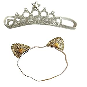 Ziory 2Pcs Golden & Silver Baby Girl Baby Boy Cute Delicate Lace Cat Unisex Crown Headbands Toddler Princess Headband…