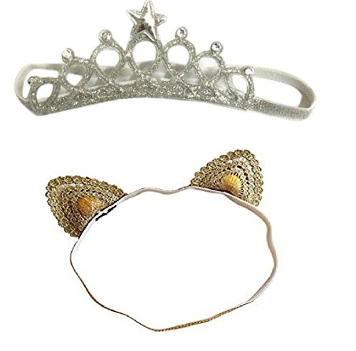 Ziory 2Pcs Golden & Silver Baby Girl Baby Boy Cute Delicate Lace Cat Unisex Crown Headbands Toddler Princess Headband Hair Accessories Birthday Gift Tiara Crown Headband