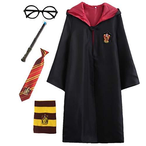 Kosplay Harry Potter Kostüm Umhang Kinder Erwachsene Cosplay Gryffindor Slytherin Ravenclaw Hufflepuff Zauberstab Krawatte Schal Brille Karneval Verkleidung Fasching - Deluxe Harry Potter Slytherin Kostüm