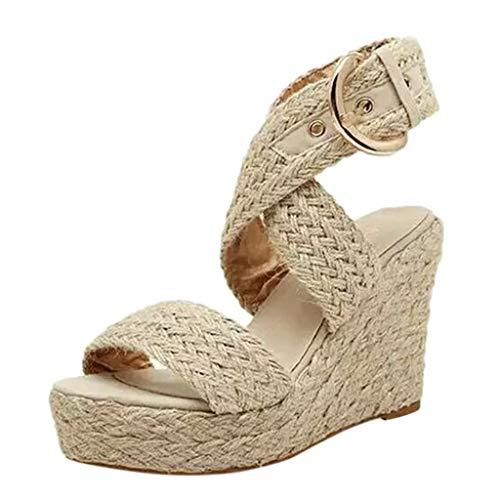 alette Bequeme Korkwedges Plateau Sandalette Chunkyrayan Frauen Damen Mode Lässig Große Größe Schnalle Keile Sandalen Römische Schuhe ()