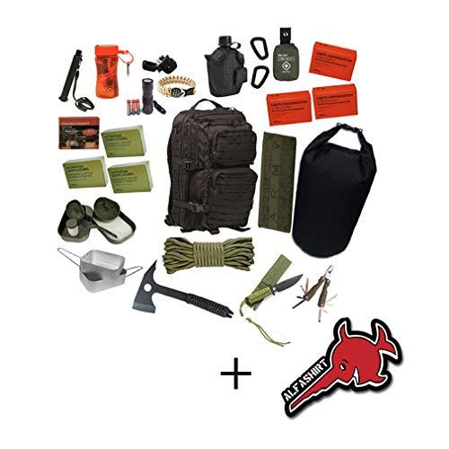 72h Fluchtrucksack + Alfashirt Aufkleber Rucksack Krisenvorsorge Krise Überlebensrucksack Bug Out Bag Get Home Bag Flucht Survival Apocaly...