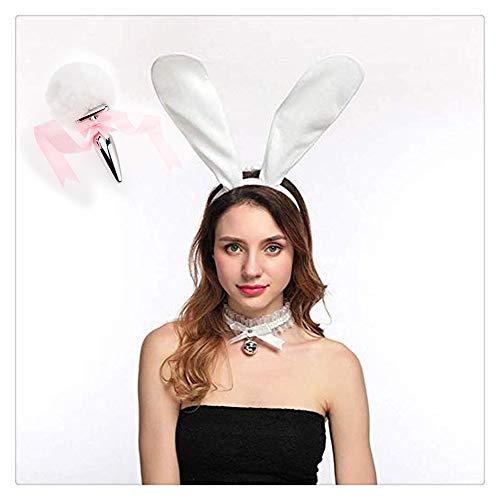 Z-one 1 Mode Dress Up Pretend Game Halloween Cosplay Party Spielzeug Liebe Geschenk Kost¨¹m Set - Metall Fox/Dog Tail Plug + langes Pl¨¹sch-Stirnband Dress Up - Sexy White Bunny Kostüm