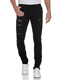 BLZ jeans - Jean homme noir super skinny destroy