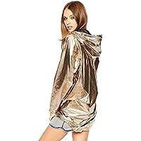 New Women's Hoodie Waterproof Golds Metallic Outerwear Zip Up Loose Long Sleeve Outdoor Raincoat Lining Plus Size