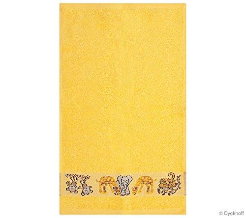 Kinder Gästehandtuch Ökotex100 30x50 cm Baumwolle Gelb Tiere -