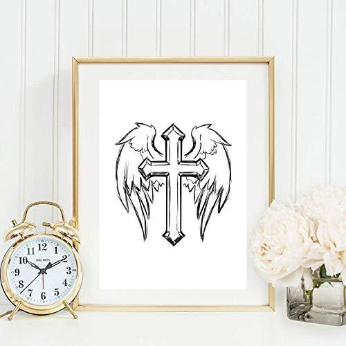 Din A4 Kunstdruck ungerahmt Kreuz mit Flügeln Engel Romantik Mystik Aquarell Geschenk Druck Poster Deko Bild