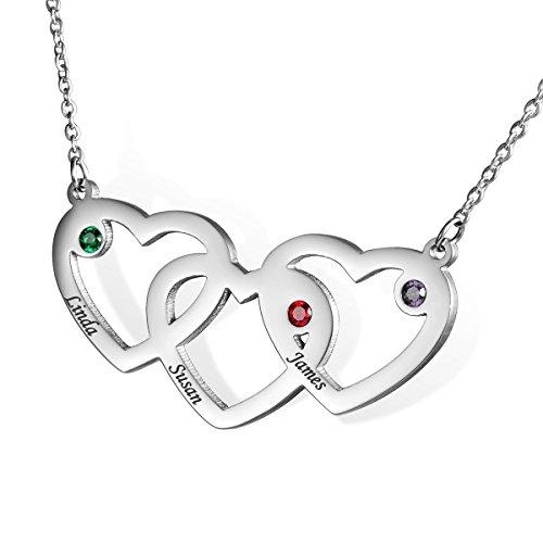 HOUSWEETY Edelstahl-Halskette-Namenskette mit Geburtssteinen - Personalisiert mit Ihrem eigenen Namen,Silber