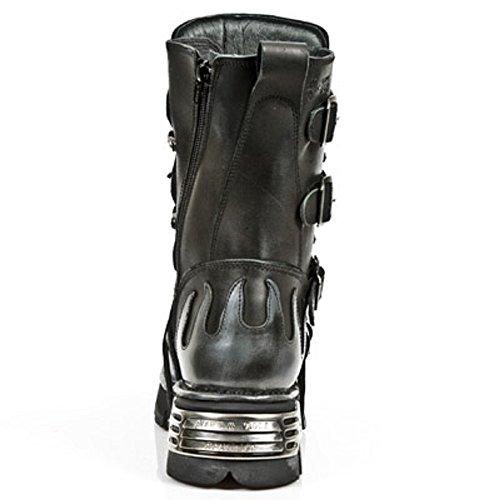 New Rock M.591-R20 Metallic Herren Schwarz Leder stiefel BLACK, STEEL