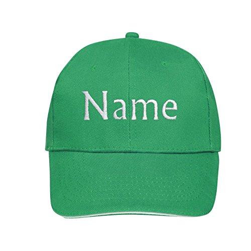 Basecap mit Wunschtext / Wunschname / Name bestickt oder bedruckt (Grün) (Kinder-postfach)