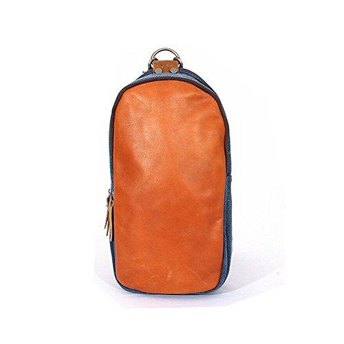 Paonies Canvas Leder klein Tasche Herren Damen Umhängetasche Brusttasche Rucksack Schultertasche für Freizeit Reise Sports (Grün) Dunkelblau