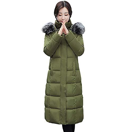 Zolimx Damen Wintermantel Frauen-Einfarbig Knopf-Mantel-Lange Baumwolle-Gepolsterte Jacken-Taschen-Pelz-mit Kapuze Mäntel Feste Pullover Oberbekleidung - Peak Mantel Frauen