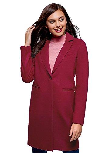 oodji Ultra Damen Klassischer Mantel mit EIN-Knopf-Verschluss, Rot, DE 34 / EU 36 / XS
