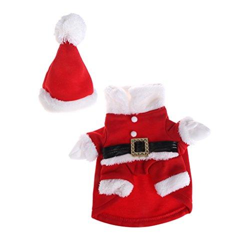 Ludzzi Haustier-Kostüm, Weihnachten, mit Hut, Katze, Hund, Weihnachtsmann, süßes Cosplay, Mantel Outfit, Kleidung mit Knöpfen