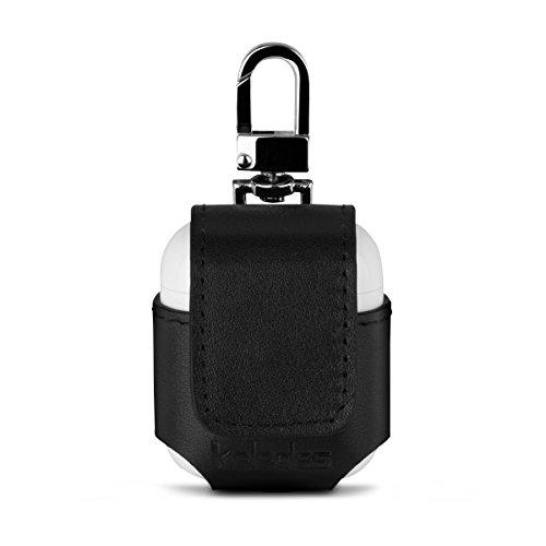 keledes Airpods hülle Ledertasche portabel AirPods Case mit Schnappverschluss Metall Schnalle Hülle aus echtem Leder für Apple AirPods, Schwarz Nappa