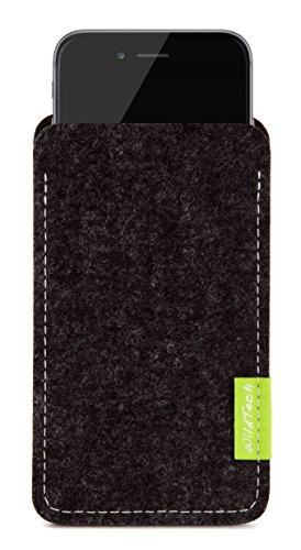 WildTech Sleeve Apple iPhone 8 Plus (5,5 Zoll) geeignet für Apple Leder Case / TPU Silikon Case (extra breit) Hülle Tasche aus echtem Wollfilz (Handmade in Germany) - Anthrazit Anthrazit