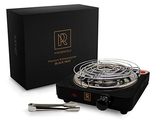 M. ROSENFELD Premium Shisha Kohleanzünder für Shisha Kohle Black Heat (1000W | Anzünder Elektrisch | Schwarz) + Gitter + Zange aus Edelstahl + Langes 140 cm Kabel (Schwarz Matt)